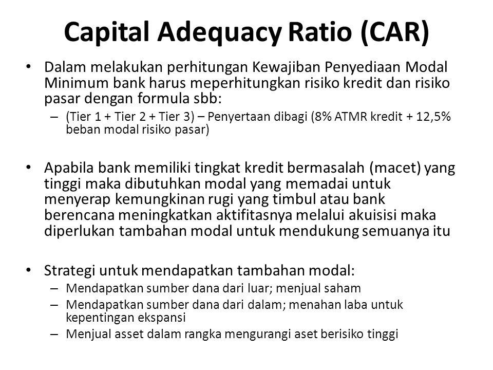Dalam melakukan perhitungan Kewajiban Penyediaan Modal Minimum bank harus meperhitungkan risiko kredit dan risiko pasar dengan formula sbb: – (Tier 1