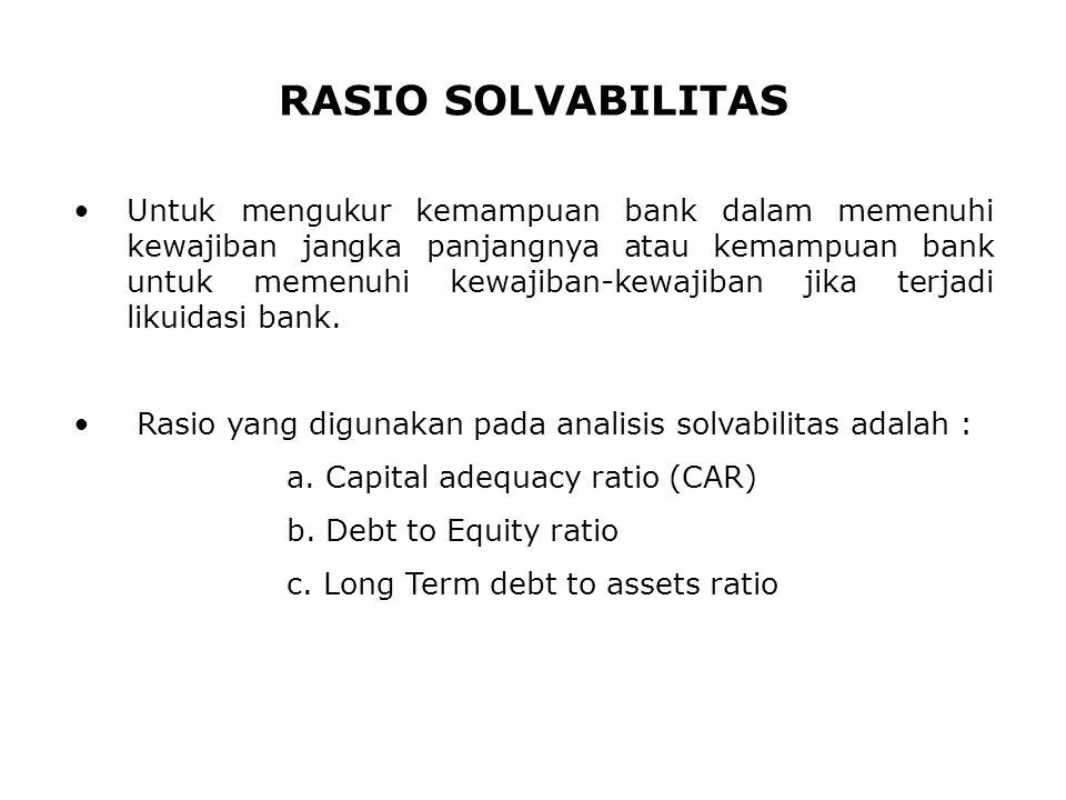 RASIO SOLVABILITAS Untuk mengukur kemampuan bank dalam memenuhi kewajiban jangka panjangnya atau kemampuan bank untuk memenuhi kewajiban-kewajiban jik