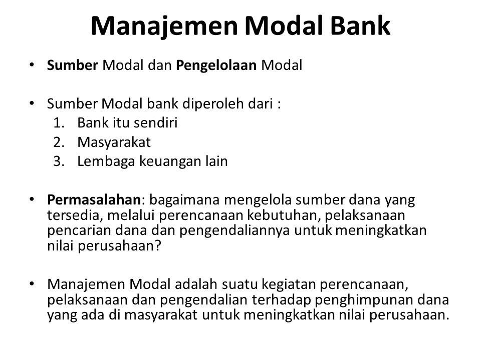 Modal bank terdiri dari: – Tier 1 Capital ; Modal utama / modal inti (core capital) – Tier 2 Capital ; Modal pendukung (supplemental capital) Tier 1 merupakan saham umum dan saham preferen Tier 2 merupakan cadangan untuk kredit macet dan pinjaman subordinasi Tier 1 + Tier 2 merupakan modal sebuah bank Tier 1 sekurang kurangnya 50% x total modal Sejak Desember 2001 regulator menetapkan bank wajib menyediakan total modal sebesar 8% dari Asset Tertimbang Menurut Risiko (AMTR)untuk kredit.