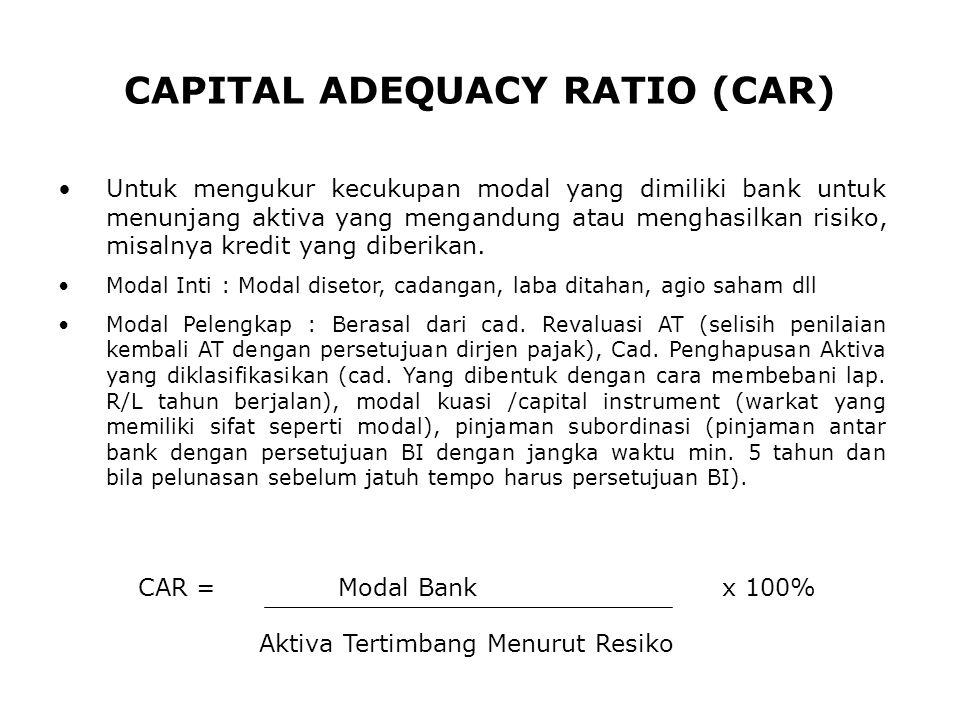 CAPITAL ADEQUACY RATIO (CAR) Untuk mengukur kecukupan modal yang dimiliki bank untuk menunjang aktiva yang mengandung atau menghasilkan risiko, misaln