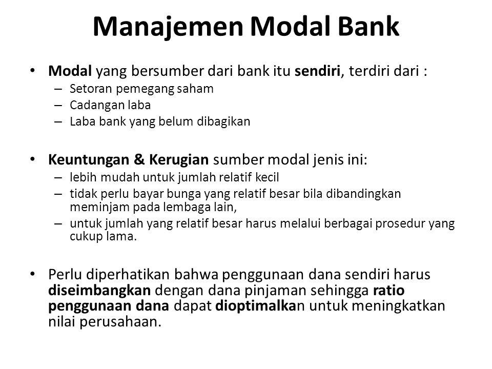 Modal yang bersumber dari bank itu sendiri, terdiri dari : – Setoran pemegang saham – Cadangan laba – Laba bank yang belum dibagikan Keuntungan & Keru