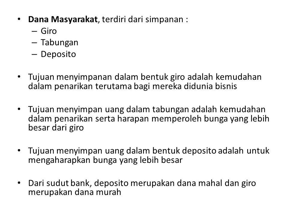 Dana dari lembaga lain, antara lain : – BLBI (Bantuan Likuiditas Bank Indonesia) – Call Money – SBPU (Surat Berharga Pasar Uang) – Pinjaman dari bank luar negeri Dari ketiga sumber dana bank, dana yang dihimpun dari masyarakat merupakan dana terbesar yang diandalkan dalam operasional bank.