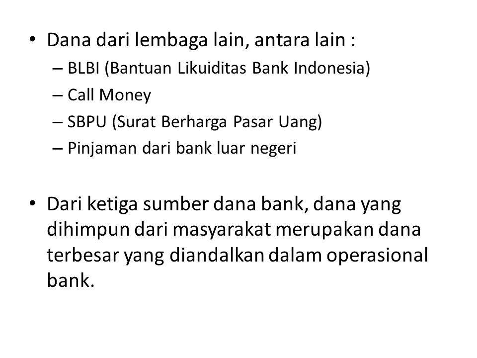 Dana dari lembaga lain, antara lain : – BLBI (Bantuan Likuiditas Bank Indonesia) – Call Money – SBPU (Surat Berharga Pasar Uang) – Pinjaman dari bank