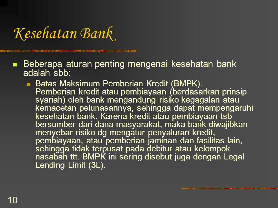 10 Kesehatan Bank Beberapa aturan penting mengenai kesehatan bank adalah sbb: Batas Maksimum Pemberian Kredit (BMPK). Pemberian kredit atau pembiayaan