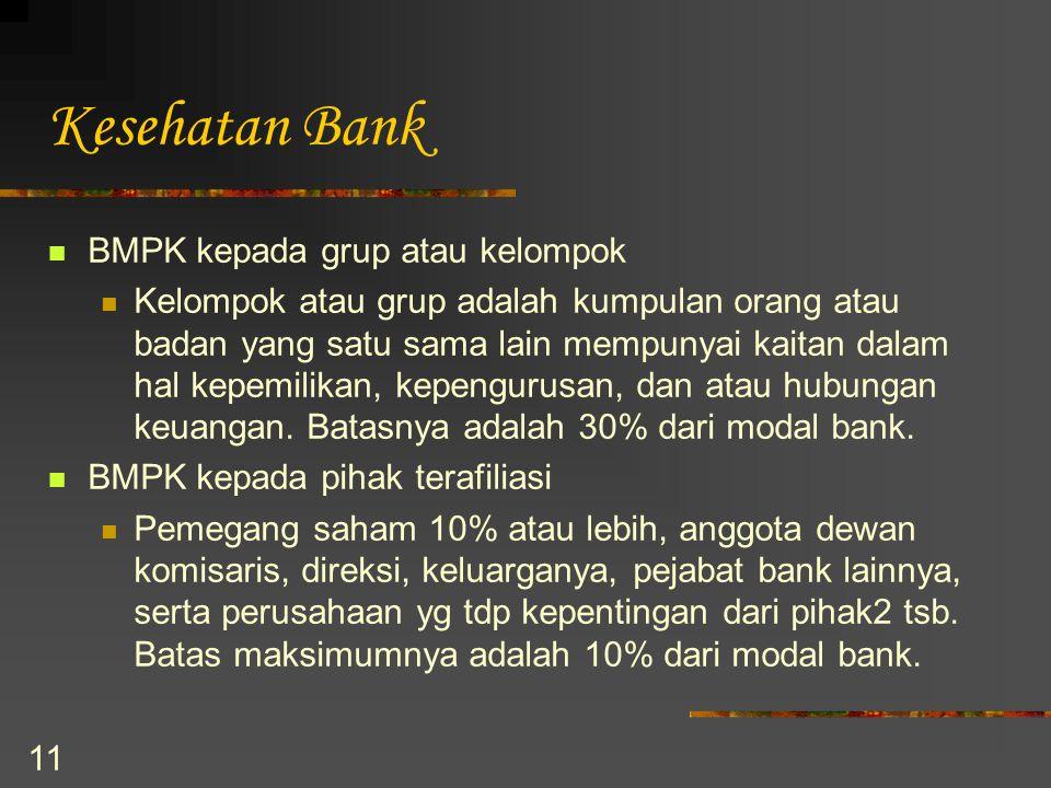 11 Kesehatan Bank BMPK kepada grup atau kelompok Kelompok atau grup adalah kumpulan orang atau badan yang satu sama lain mempunyai kaitan dalam hal ke