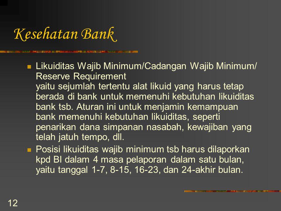 12 Kesehatan Bank Likuiditas Wajib Minimum/Cadangan Wajib Minimum/ Reserve Requirement yaitu sejumlah tertentu alat likuid yang harus tetap berada di