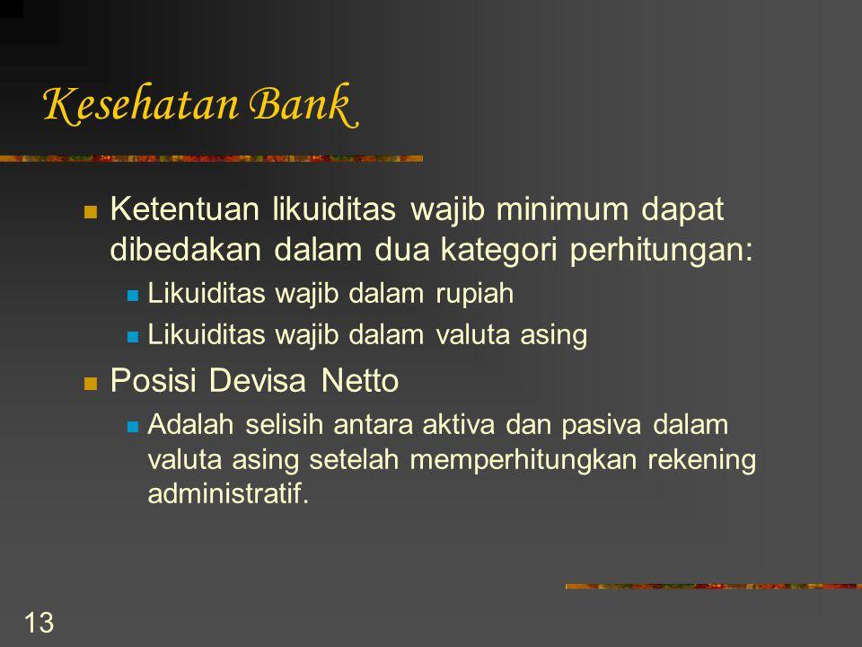 13 Kesehatan Bank Ketentuan likuiditas wajib minimum dapat dibedakan dalam dua kategori perhitungan: Likuiditas wajib dalam rupiah Likuiditas wajib da