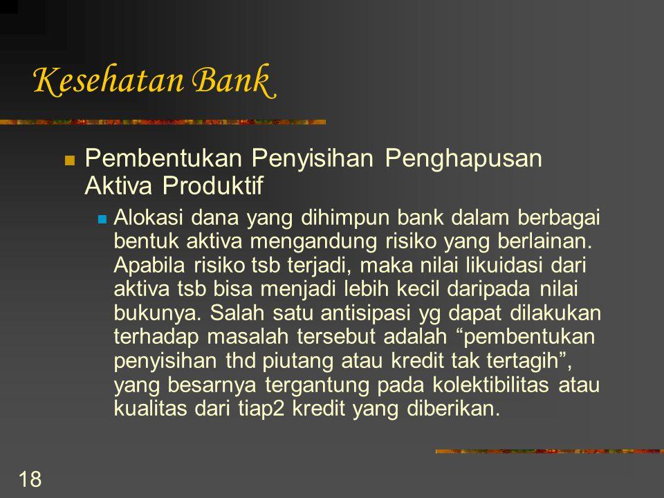 18 Kesehatan Bank Pembentukan Penyisihan Penghapusan Aktiva Produktif Alokasi dana yang dihimpun bank dalam berbagai bentuk aktiva mengandung risiko y