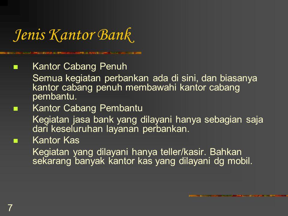 7 Jenis Kantor Bank Kantor Cabang Penuh Semua kegiatan perbankan ada di sini, dan biasanya kantor cabang penuh membawahi kantor cabang pembantu. Kanto