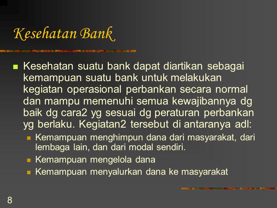 8 Kesehatan Bank Kesehatan suatu bank dapat diartikan sebagai kemampuan suatu bank untuk melakukan kegiatan operasional perbankan secara normal dan ma