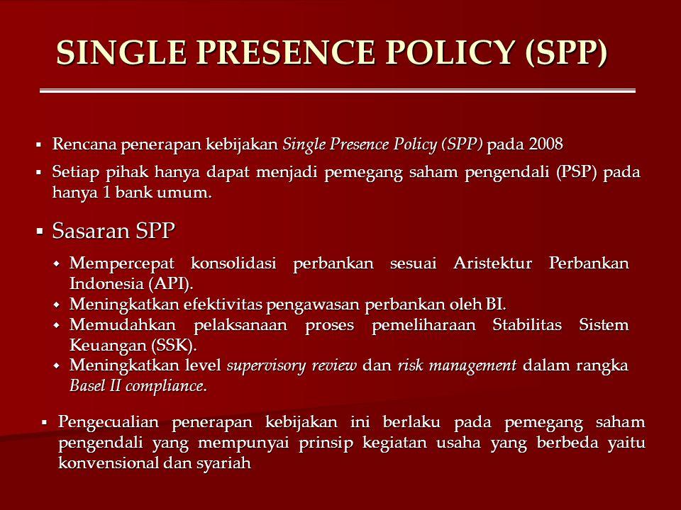 SINGLE PRESENCE POLICY (SPP)  Rencana penerapan kebijakan Single Presence Policy (SPP) pada 2008  Setiap pihak hanya dapat menjadi pemegang saham pe