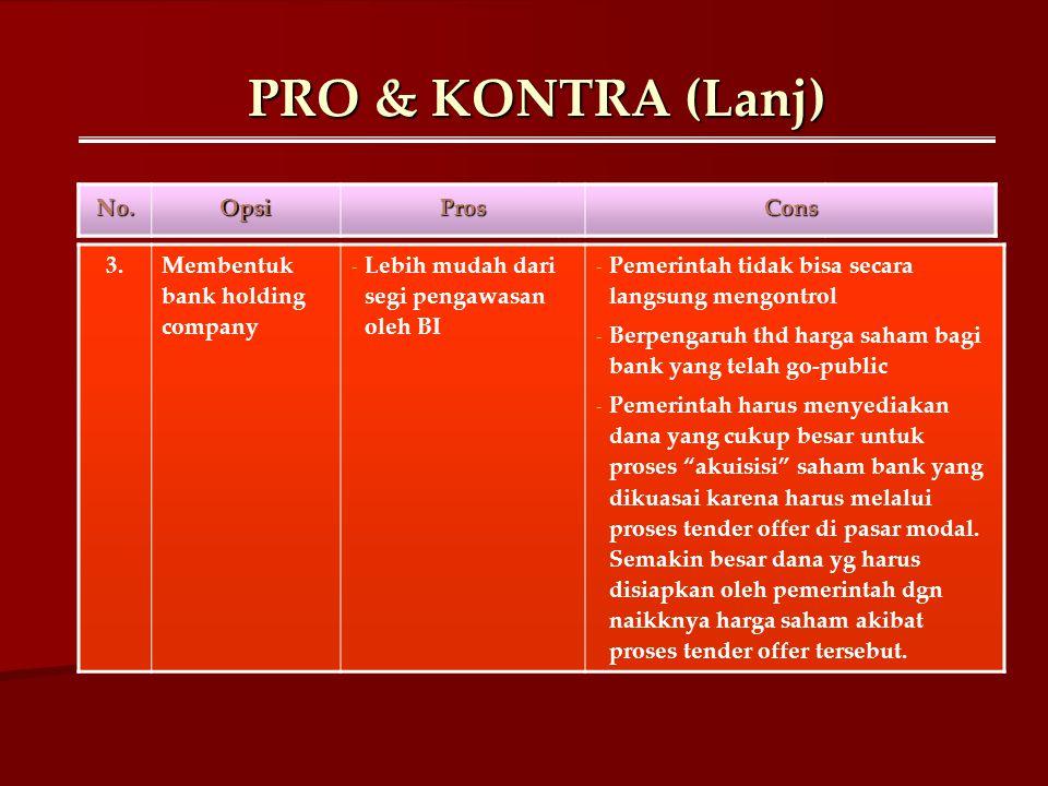PRO & KONTRA (Lanj) No.OpsiProsCons 3.Membentuk bank holding company - Lebih mudah dari segi pengawasan oleh BI - Pemerintah tidak bisa secara langsun