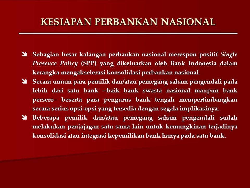 KESIAPAN PERBANKAN NASIONAL  Sebagian besar kalangan perbankan nasional merespon positif Single Presence Policy (SPP) yang dikeluarkan oleh Bank Indo