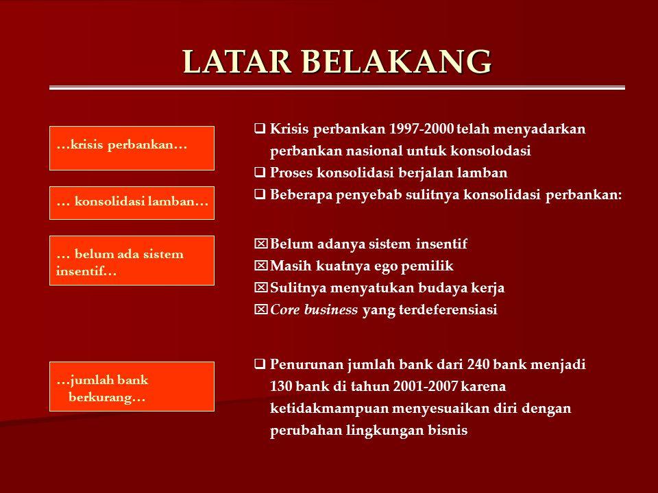 LATAR BELAKANG  Krisis perbankan 1997-2000 telah menyadarkan perbankan nasional untuk konsolodasi  Proses konsolidasi berjalan lamban  Beberapa pen