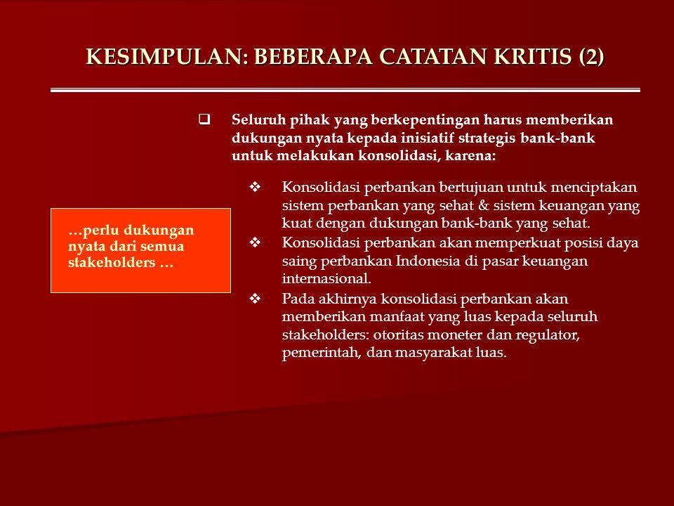 KESIMPULAN: BEBERAPA CATATAN KRITIS (2) …perlu dukungan nyata dari semua stakeholders …  Seluruh pihak yang berkepentingan harus memberikan dukungan