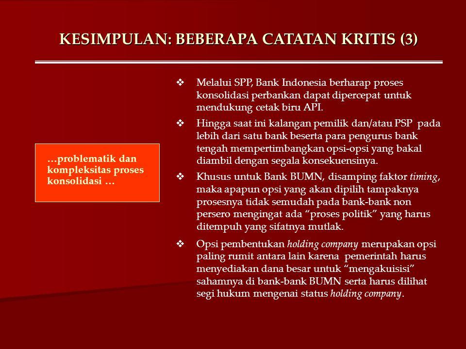 KESIMPULAN: BEBERAPA CATATAN KRITIS (3) …problematik dan kompleksitas proses konsolidasi …  Melalui SPP, Bank Indonesia berharap proses konsolidasi p