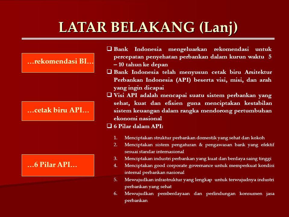 LATAR BELAKANG (Lanj)  Bank Indonesia mengeluarkan rekomendasi untuk percepatan penyehatan perbankan dalam kurun waktu 5 – 10 tahun ke depan  Bank I