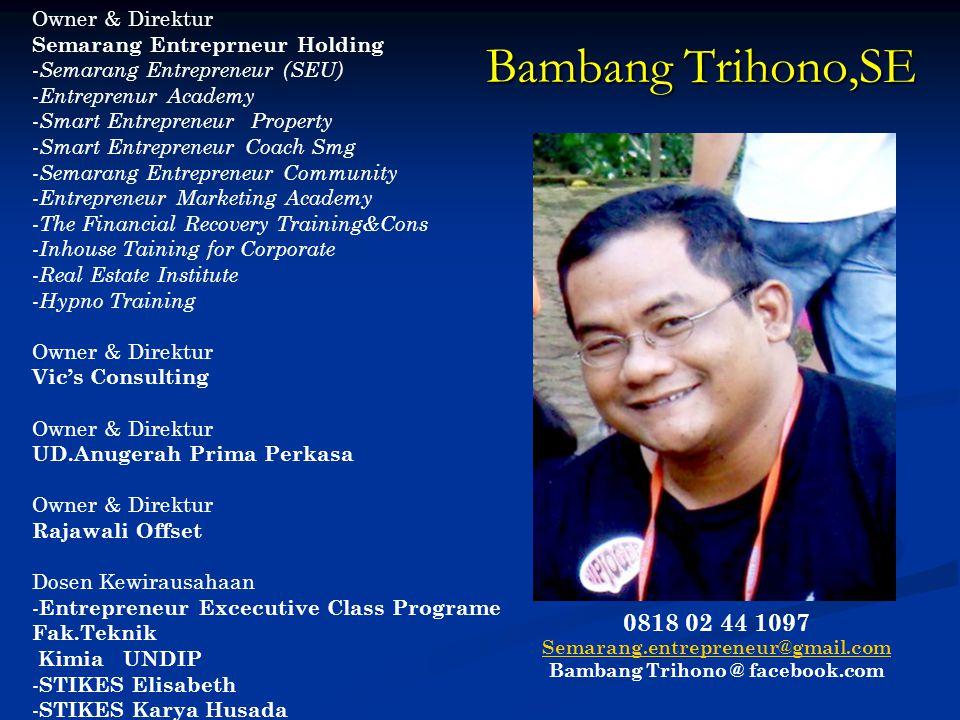 Materi Kuliah Pertemuan Ke-3 Mata Kuliah Kewirausahaan STIKES Karya Husada Semarang By: Bambang Trihono,SE