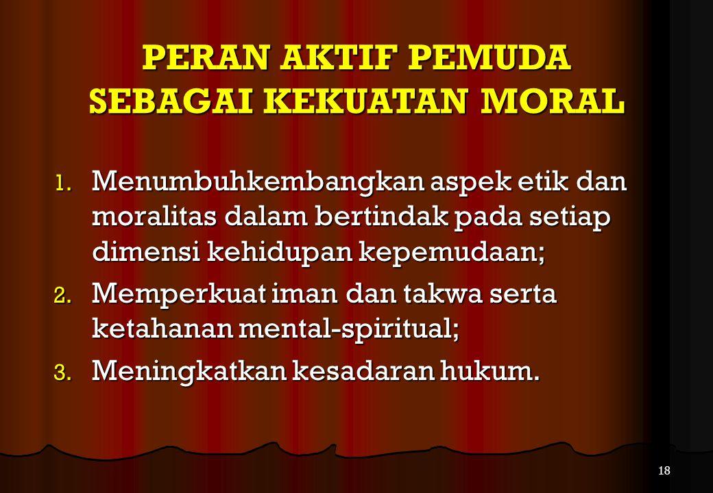 PERAN AKTIF PEMUDA Pemuda berperan aktif dalam segala aspek pembangunan nasional, sebagai: 1.Kekuatan Moral 2.Kontrol Sosial 3.Agen Perubahan 17