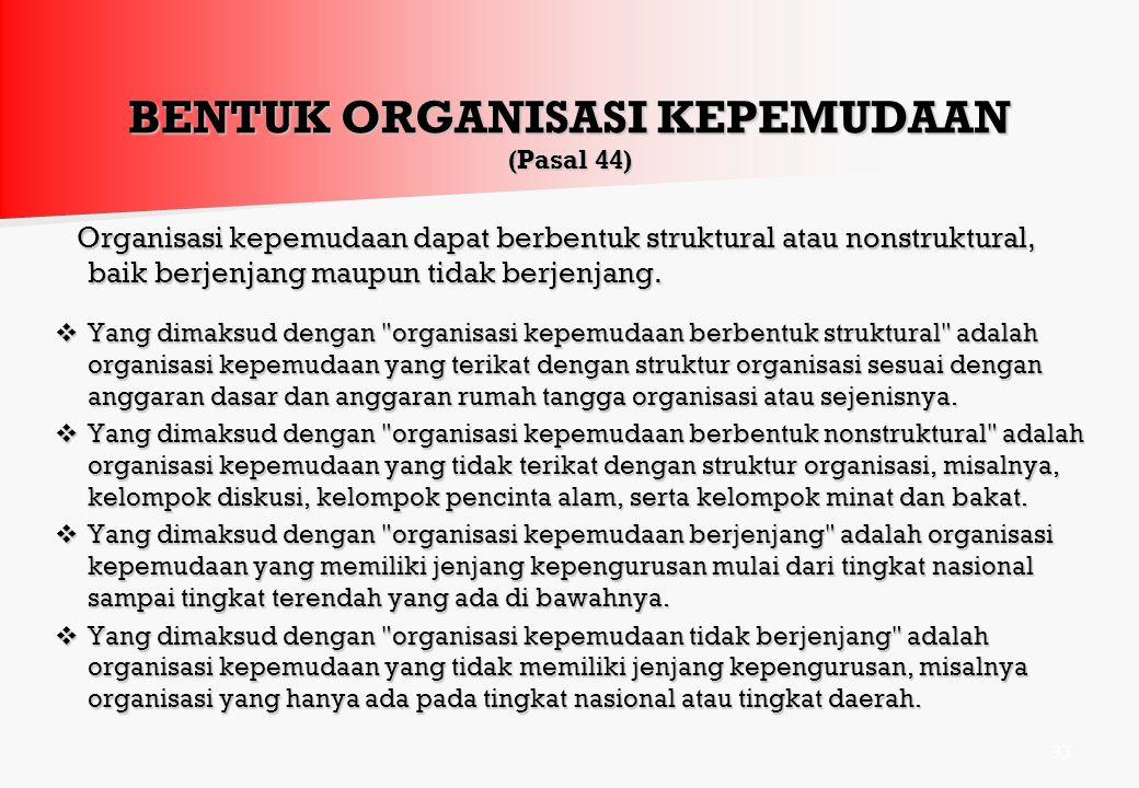 ORGANISASI KEPELAJARAN DAN KEMAHASISWAAN (Pasal 41) 1)Organisasi kepelajaran dan kemahasiswaan berfungsi untuk mendukung kesempurnaan pendidikan dan m