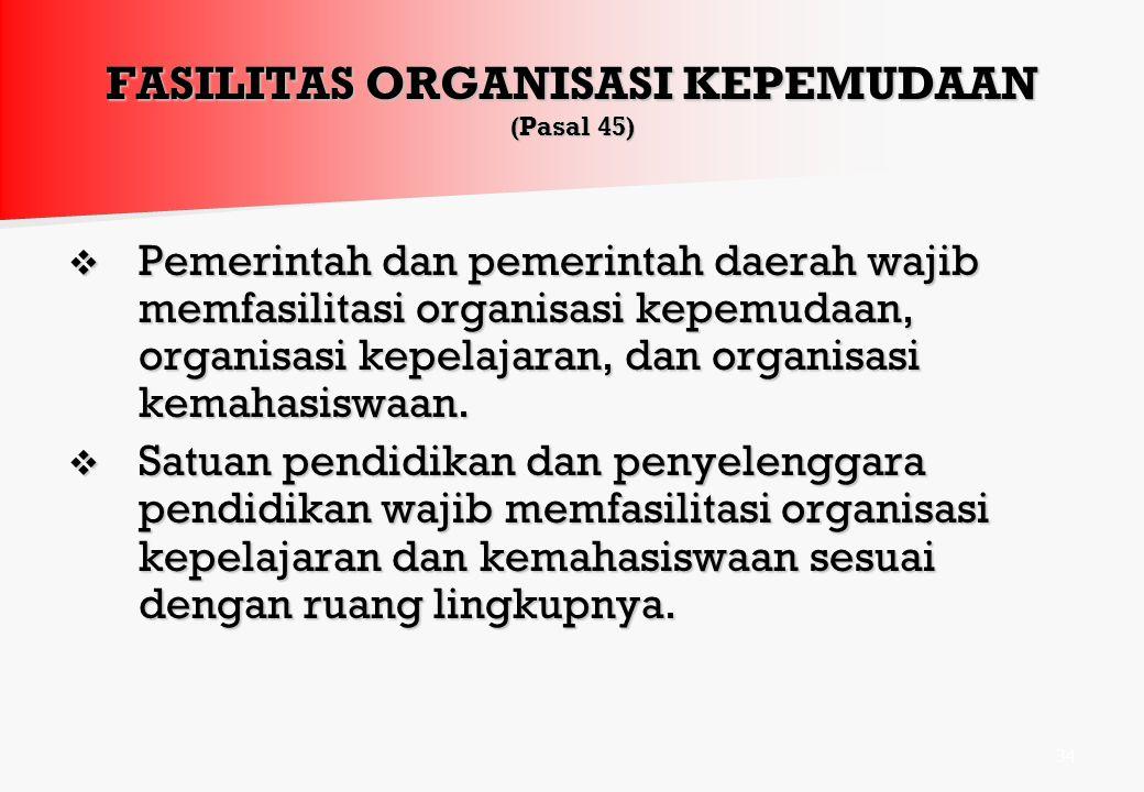 BENTUK ORGANISASI KEPEMUDAAN (Pasal 44) Organisasi kepemudaan dapat berbentuk struktural atau nonstruktural, baik berjenjang maupun tidak berjenjang.