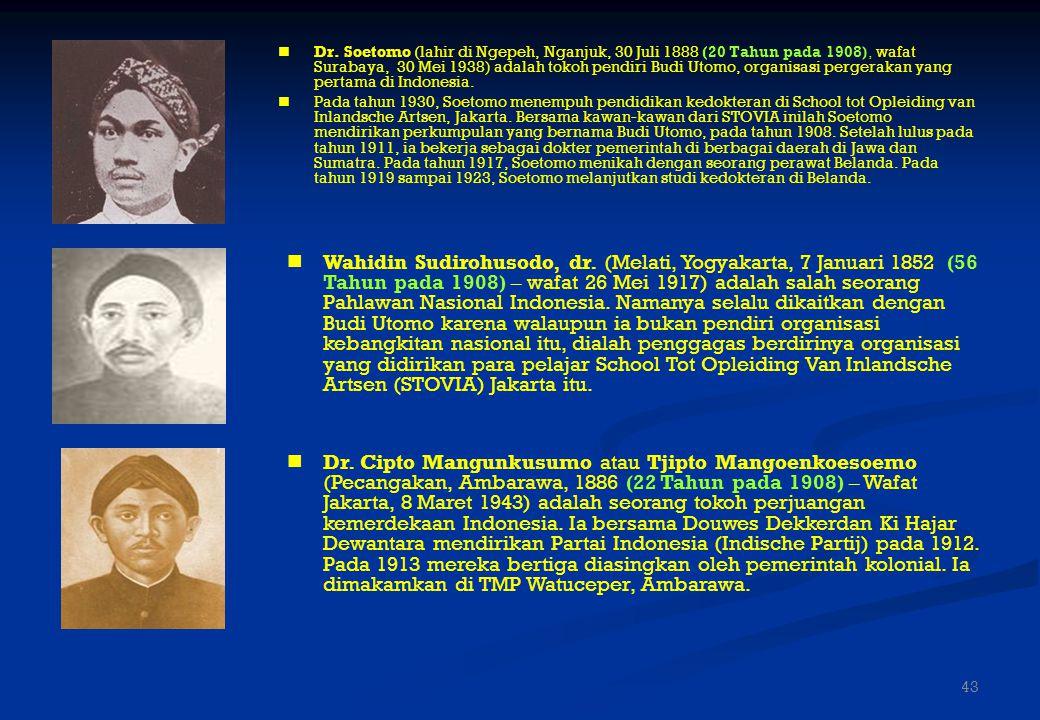 TOKOH-TOKOH KEBANGKITAN NASIONAL 1.dr. Soetomo 2.dr. Wahidin Sudirohusodo 3.dr. Tjipto Mangoenkoesoemo 4.R. M. Suwardi Suryoningrat (Ki Hadjar Dewanta