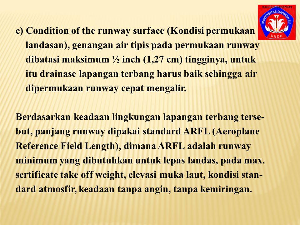 3. Kriteria perencanaan lapangan terbang membatasi kemiringan landasan sebesar 1½ %. 4. Faktor koreksi kemiringan Fs = 1 + 0,1 S S = kemiringan runway