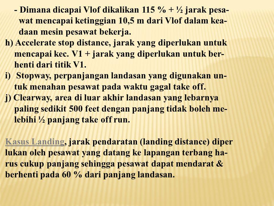 c ) Kecepatan Rotasi (Vr), kecepatan pada saat pilot mulai mengangkat hidung pesawat agar pesawat mulai lepas landas. d) Kecepatan Angkat (Vlof), kece