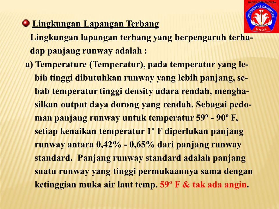 Lingkungan Lapangan Terbang Lingkungan lapangan terbang yang berpengaruh terha- dap panjang runway adalah : a) Temperature (Temperatur), pada temperatur yang le- bih tinggi dibutuhkan runway yang lebih panjang, se- bab temperatur tinggi density udara rendah, mengha- silkan output daya dorong yang rendah.