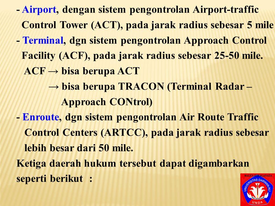 - Airport, dengan sistem pengontrolan Airport-traffic Control Tower (ACT), pada jarak radius sebesar 5 mile - Terminal, dgn sistem pengontrolan Approach Control Facility (ACF), pada jarak radius sebesar 25-50 mile.