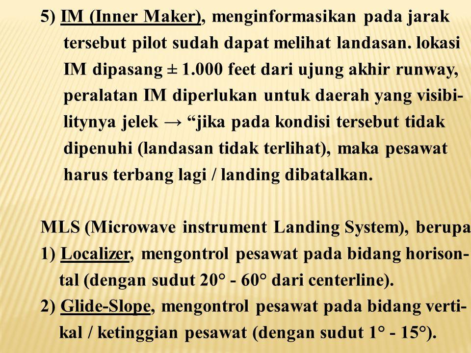 5) IM (Inner Maker), menginformasikan pada jarak tersebut pilot sudah dapat melihat landasan.