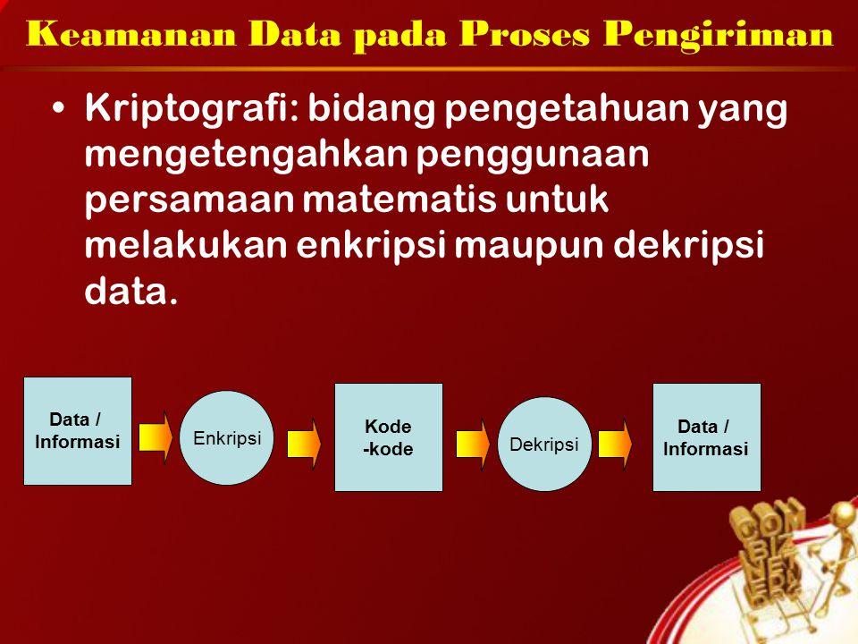 Keamanan Data pada Proses Pengiriman Kriptografi: bidang pengetahuan yang mengetengahkan penggunaan persamaan matematis untuk melakukan enkripsi maupun dekripsi data.