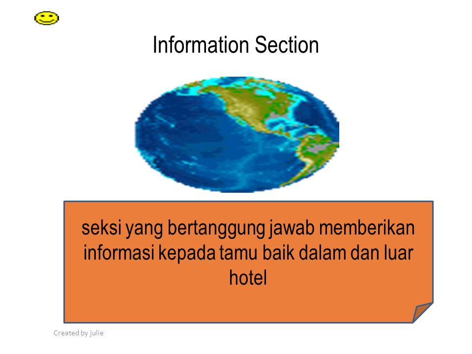 Created by julie Information Section our Text Your Text seksi yang bertanggung jawab memberikan informasi kepada tamu baik dalam dan luar hotel