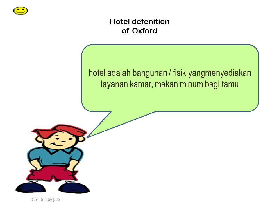 Created by julie Hotel defenition of Oxford hotel adalah bangunan / fisik yangmenyediakan layanan kamar, makan minum bagi tamu