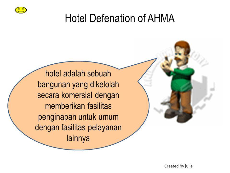 Hotel Defenation of AHMA hotel adalah sebuah bangunan yang dikelolah secara komersial dengan memberikan fasilitas penginapan untuk umum dengan fasilit