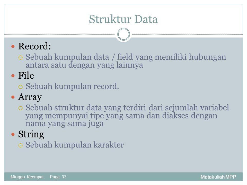 Matakuliah MPP Minggu Keempat Page 37 Struktur Data Record:  Sebuah kumpulan data / field yang memiliki hubungan antara satu dengan yang lainnya File  Sebuah kumpulan record.