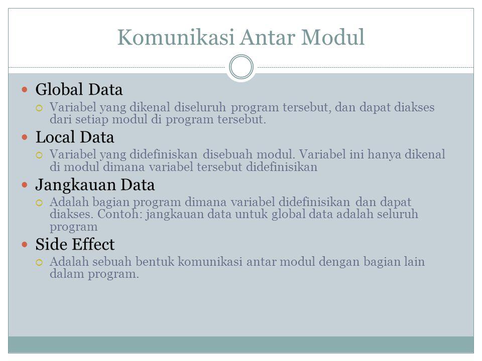 Komunikasi Antar Modul Global Data  Variabel yang dikenal diseluruh program tersebut, dan dapat diakses dari setiap modul di program tersebut.