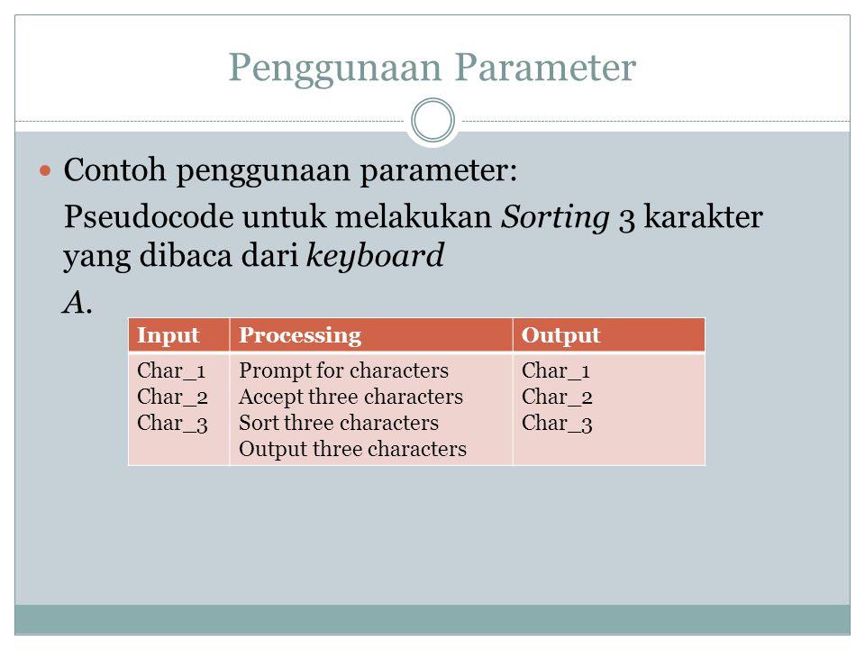 Penggunaan Parameter Contoh penggunaan parameter: Pseudocode untuk melakukan Sorting 3 karakter yang dibaca dari keyboard A. InputProcessingOutput Cha