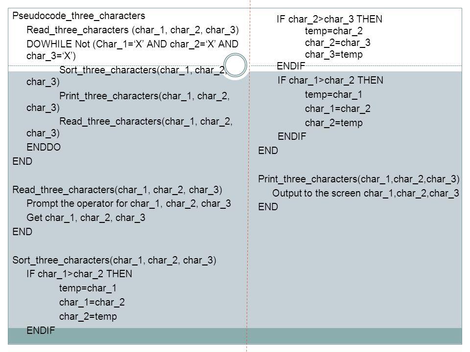 Pseudocode_three_characters Read_three_characters (char_1, char_2, char_3) DOWHILE Not (Char_1='X' AND char_2='X' AND char_3='X') Sort_three_character