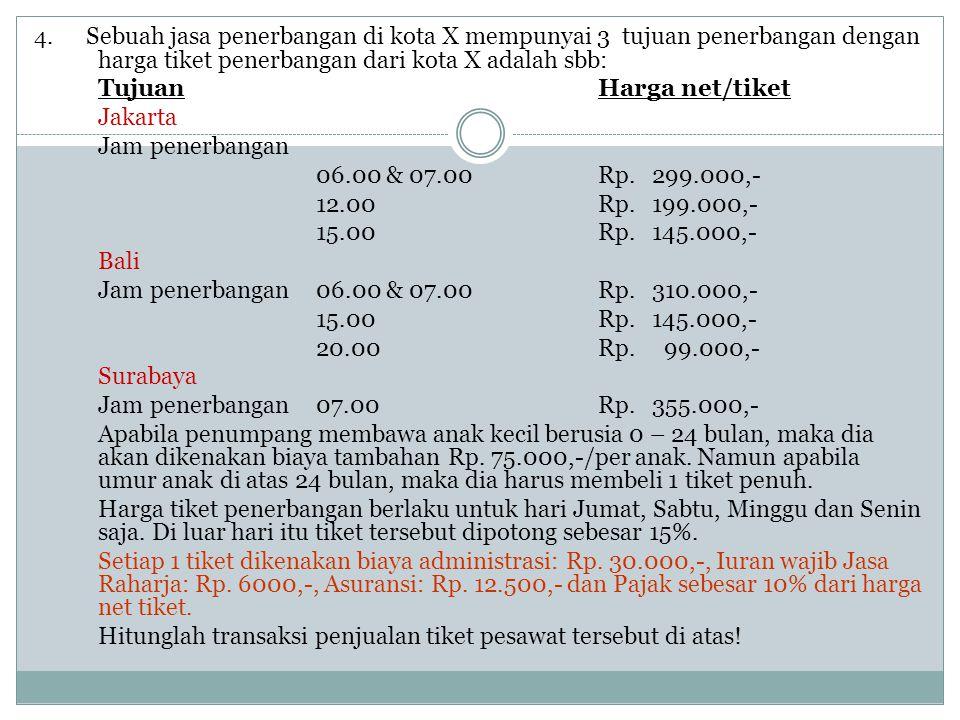 4. Sebuah jasa penerbangan di kota X mempunyai 3 tujuan penerbangan dengan harga tiket penerbangan dari kota X adalah sbb: TujuanHarga net/tiket Jakar