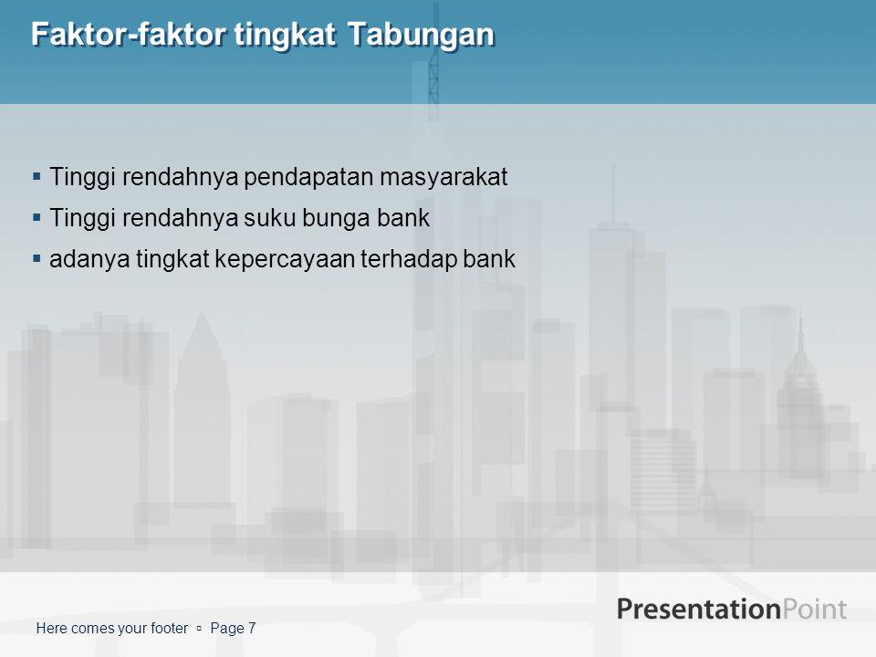 Here comes your footer  Page 7 Faktor-faktor tingkat Tabungan  Tinggi rendahnya pendapatan masyarakat  Tinggi rendahnya suku bunga bank  adanya tingkat kepercayaan terhadap bank