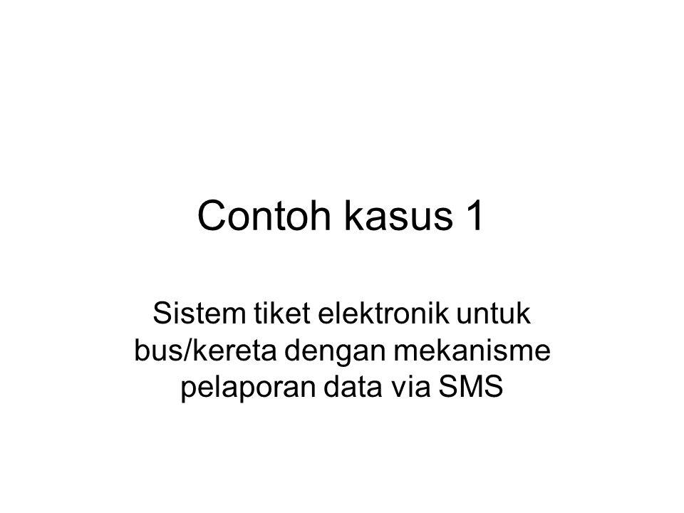 Deskripsi sistem Tiket memakai smart card contactless Interface SC reader : UART level TTL Penampung data sementara ada di mesin tiket memakai media MMC Setiap hari dilakukan pelaporan data ke pusat pada jam 22.00 Pelaporan data ke pusat menggunakan media SMS