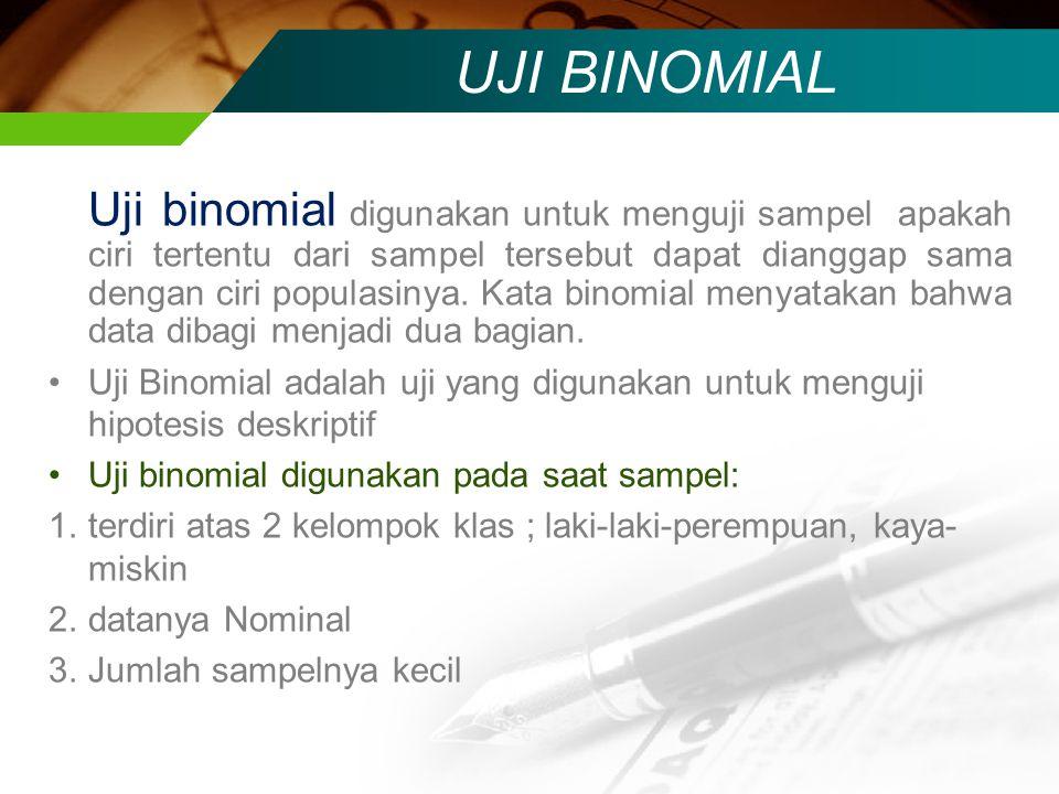 UJI BINOMIAL Uji binomial digunakan untuk menguji sampel apakah ciri tertentu dari sampel tersebut dapat dianggap sama dengan ciri populasinya. Kata b