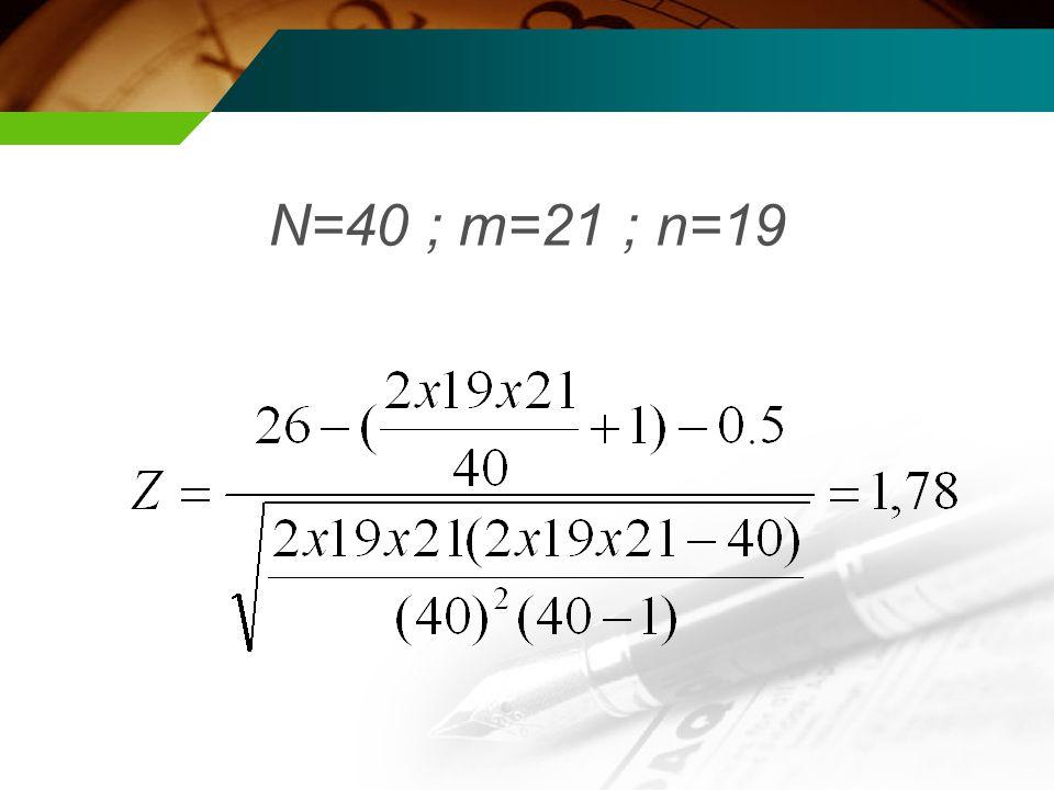 N=40 ; m=21 ; n=19
