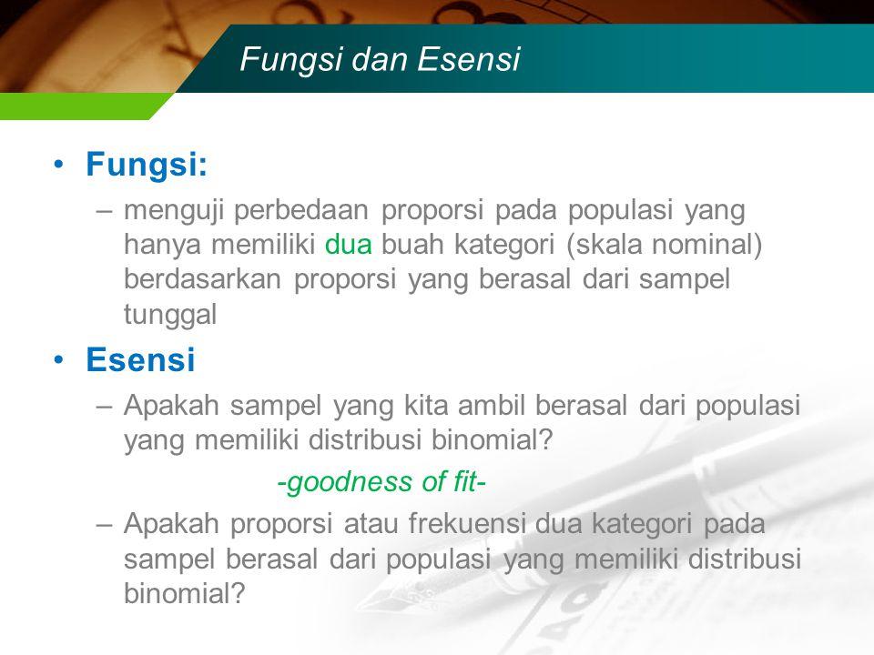 Fungsi dan Esensi Fungsi: –menguji perbedaan proporsi pada populasi yang hanya memiliki dua buah kategori (skala nominal) berdasarkan proporsi yang be