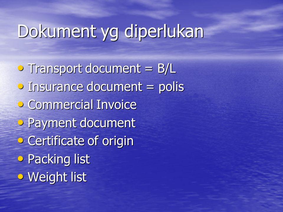 Dokument yg diperlukan Transport document = B/L Transport document = B/L Insurance document = polis Insurance document = polis Commercial Invoice Comm