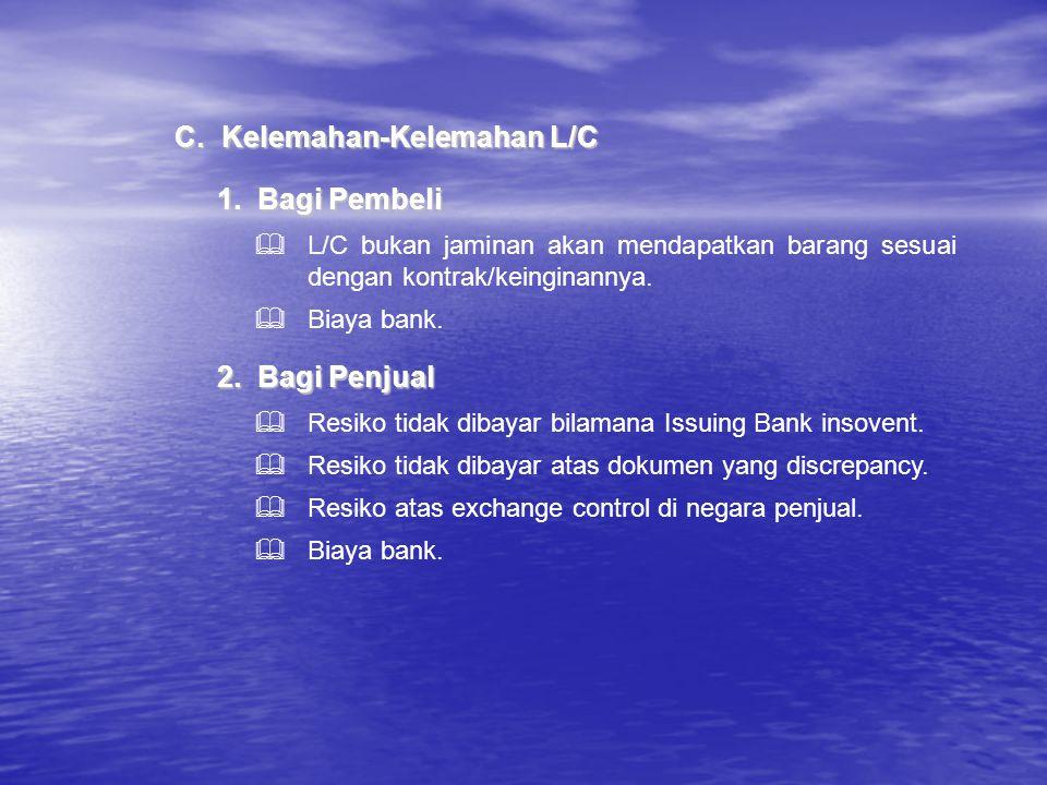1.Bagi Pembeli C.Kelemahan-Kelemahan L/C  L/C bukan jaminan akan mendapatkan barang sesuai dengan kontrak/keinginannya.  Biaya bank. 2.Bagi Penjual