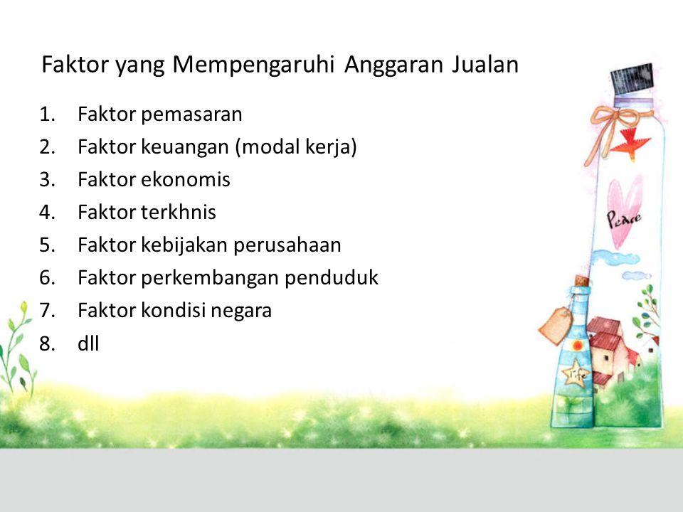 Faktor yang Mempengaruhi Anggaran Jualan 1.Faktor pemasaran 2.Faktor keuangan (modal kerja) 3.Faktor ekonomis 4.Faktor terkhnis 5.Faktor kebijakan per