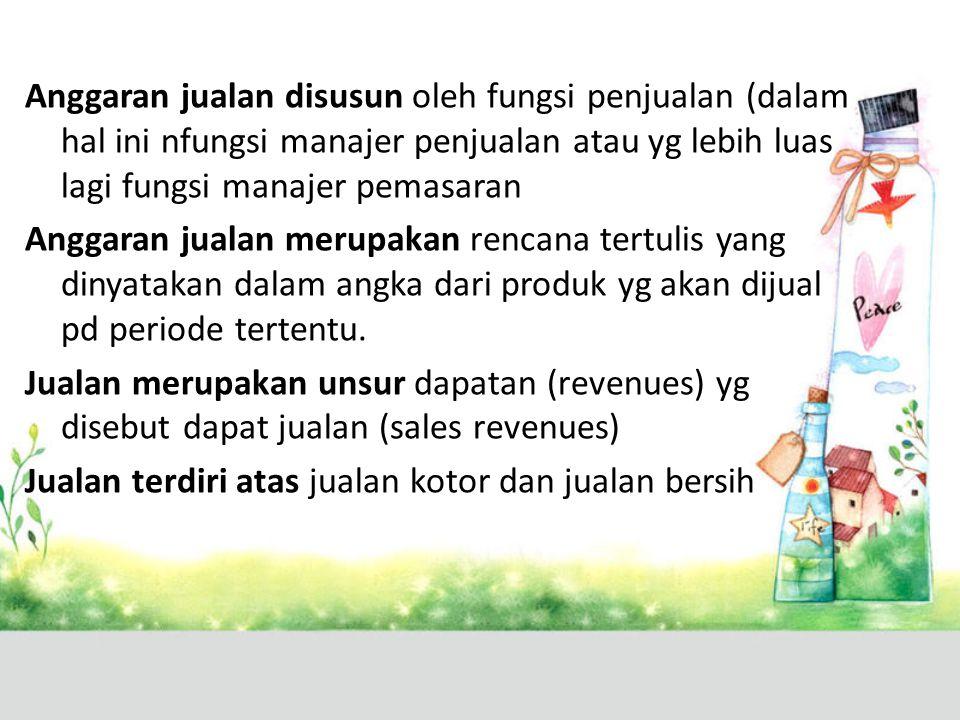 Anggaran jualan disusun oleh fungsi penjualan (dalam hal ini nfungsi manajer penjualan atau yg lebih luas lagi fungsi manajer pemasaran Anggaran jualan merupakan rencana tertulis yang dinyatakan dalam angka dari produk yg akan dijual pd periode tertentu.