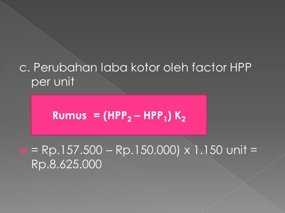 c. Perubahan laba kotor oleh factor HPP per unit  = Rp.157.500 – Rp.150.000) x 1.150 unit = Rp.8.625.000 Rumus = (HPP 2 – HPP 1 ) K 2